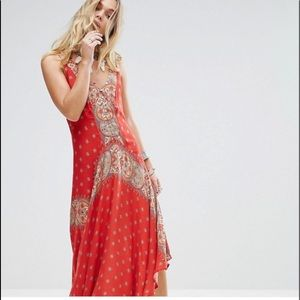 Free People Faithfully Yours Dress RED Sz S